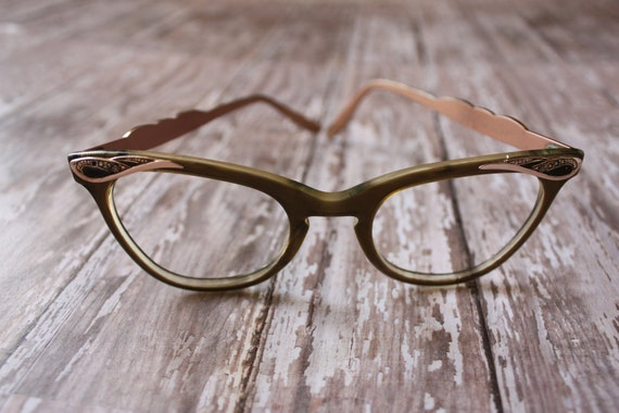 Vintage 1950's Plastic and Aluminum Pink Cat Eye Eyeglasses with Rhinestone Accents