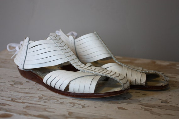 Vintage 1970's White Italian Leather Gladiator Sandals 7