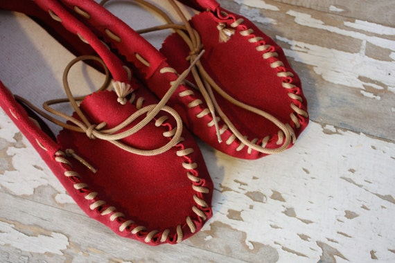 Vintage 1970's Red Suede Leather Moccasins Loafers Women's 5.5