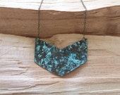 Chevron Necklace Verdigris Jewelry Mixed Metal Jewelry Tribal Necklace Tribal Chic Geometric Jewelry Copper Patina Blue Green Necklace