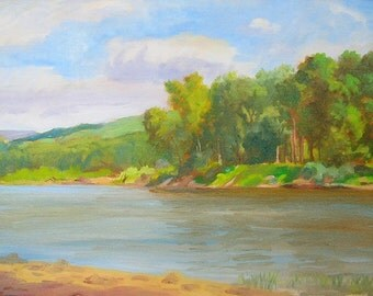 The Delaware River In June, Summer Painting Of The River, Landscape In Summer, Realistic Painting Of The River, Shore Line Painting