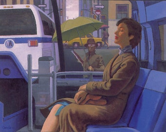 Woman On A Bus, Seated Woman On A Bus, Bus Interior With Figure, Seated Figure On A Bus, Resting Woman On A Bus, Woman On A City Bus