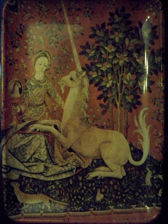 Unicorn with Lady Woodland Scene Tray Art Decorative