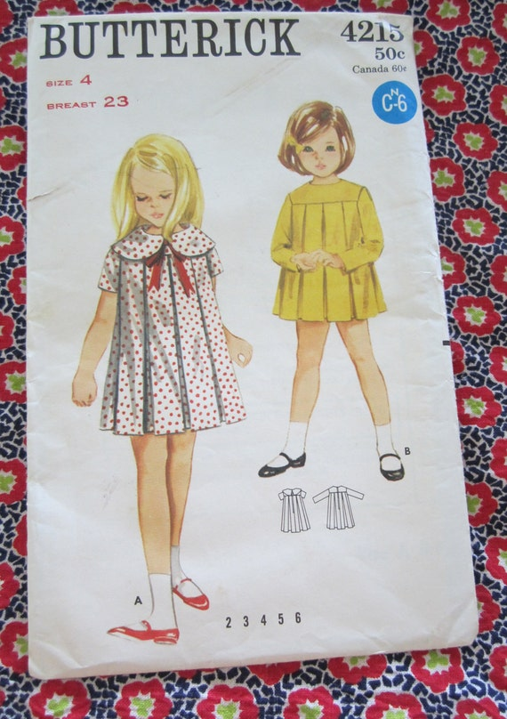 UNCUT Vintage 1960s Butterick Sewing Pattern 4215..Girl's One Piece Dress, Size 4