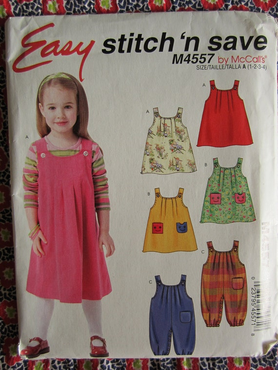 UNCUT 2004 Easy Stitch 'n Save by McCalls Sewing Pattern..M4557..Girls Jumper and Jumpsuit with Optional Snap Crotch..Size 1-4