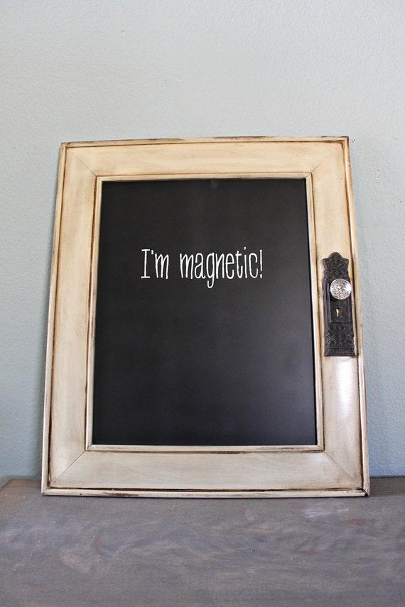 Distressed Ivory Magnetic Chalkboard with Antique Door Handle Rustic Wedding Vintage Photo Prop Shabby Wedding Rustic Chalkboard Off White