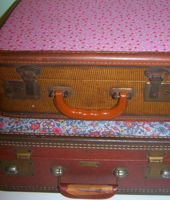 Fabric Covered Antique Suitcase - Vintage Upcycled Luggage