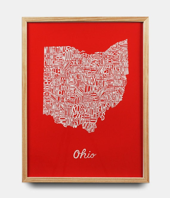 Ohio County Map (Red)
