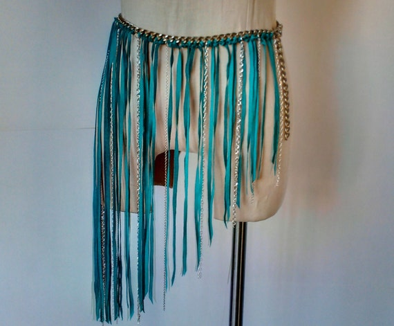 Turquoise Leather and Chain Fringe Belt Dee Rubio Design