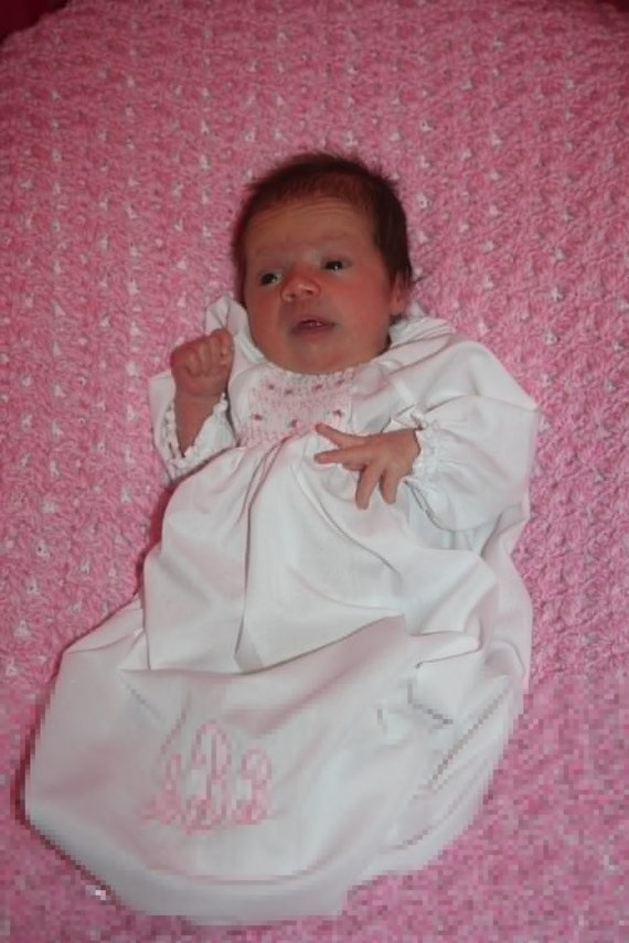 Hand Smocked Personalized Day Gown.