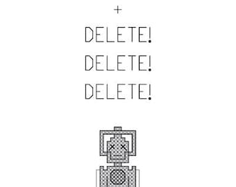 Cyberman - Doctor Who Inspired PDF Cross Stitch Pattern - INSTANT DOWNLOAD