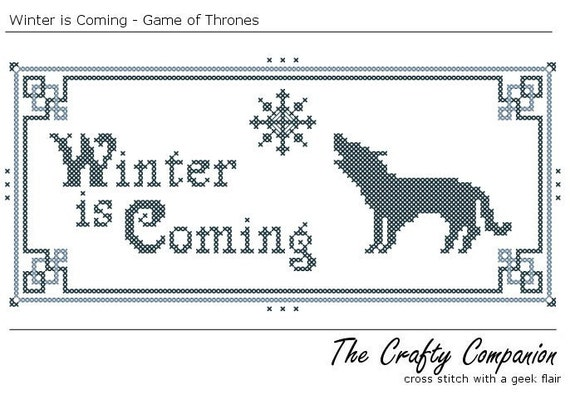 Winter is Coming - Game of Thrones Inspired PDF Cross Stitch Pattern - INSTANT DOWNLOAD