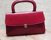 Vintage Red Leather Retro Handbag 60s A-00169