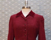 Vintage Burgundy  British Fitted Cut Jacket with Velvet Collar C-00219