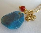 Lucky Amulet Pendant IV - Blue Agate & Carnelian