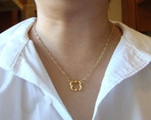 "Gold Quatrefoil Pendant - The Dainty, Littler Version (18"")"