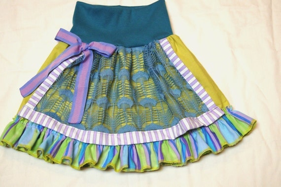 RESERVED for Connie Size 18 mo - 3T Peacock Lace Apron Skirt