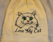 "Cat ""Love My Cat"" - Embroidered crochet topped hand towel (Free USA Shipping)"