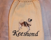 Keeshond dog - Embroidered crochet topped hand towel (Free USA Shipping)