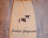 Italian Greyhound dog - Embroidered crochet topped hand towel (Free USA Shipping)