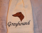 Greyhound dog (head) - Embroidered crochet topped hand towel (Free USA Shipping)