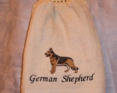 German Shepherd dog - Embroidered crochet topped hand towel (Free USA Shipping)