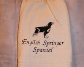 English Springer Spaniel dog (black) - Embroidered crochet topped hand towel (Free USA Shipping)