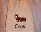 Corgi dog (Pembroke red) - Embroidered crochet topped hand towel (Free USA Shipping)