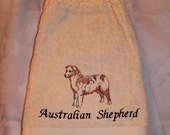 Kitchen Towell - Australian Shepherd dog - Embroidered crochet topped (Free USA Shipping)