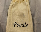 Kitchen Towel - Poodle dog (cream white) - Embroidered crochet topped hand towel (Free USA Shipping)