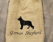 Hanging Towel - German Shepherd dog (black) - Embroidered crochet topped hand towel (Free USA Shipping)