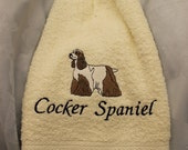 Towel - Cocker Spaniel dog (brown and white) - Embroidered crochet topped hand towel (Free USA Shipping)