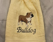 Kitchen Towel - Bulldog (body) - Embroidered crochet topped hand towel (Free USA Shipping)