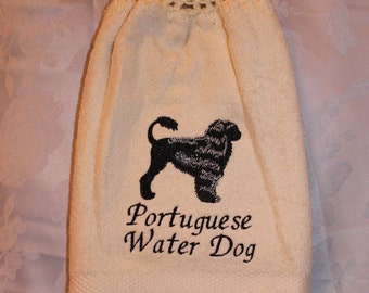 Portuguese Water Dog - Embroidered crochet topped hand towel (Free USA Shipping)