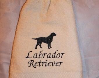 Labrador Retriever dog (black) - Embroidered crochet topped hand towel (Free USA Shipping)