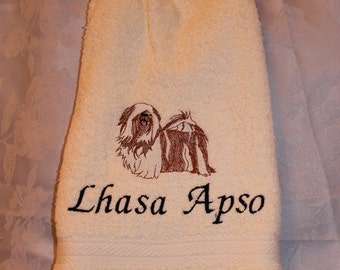 Lhasa Apso dog - Embroidered crochet topped hand towel (Free USA Shipping)