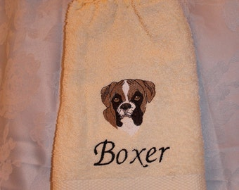 Hanging Kitchen Towel - Boxer dog (head) - Embroidered crochet topped (Free USA Shipping)