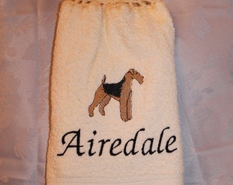 Towel - Airedale dog - Embroidered crochet topped hand towel (Free USA Shipping)