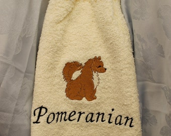 Kitchen Towel - Pomeranian dog (body) - Embroidered crochet topped hand towel (Free USA Shipping)