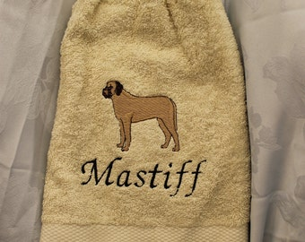 Kitchen Towel - Mastiff dog - Embroidered crochet topped hand towel (Free USA Shipping)