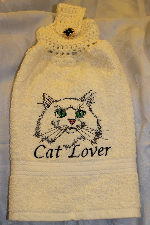 "Kitchen Towel - Cat ""Cat Lover"" - Embroidered crochet topped hand towel (Free USA Shipping)"