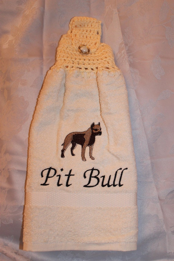 Pet Lover - Pit Bull dog - Embroidered crochet topped hand towel (Free USA Shipping)