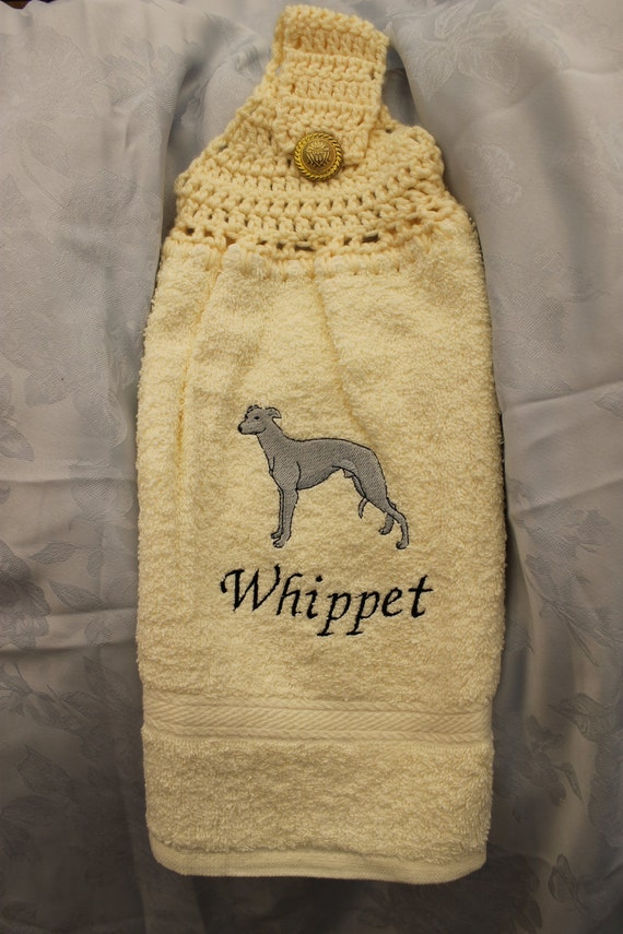 Kitchen Towel - Whippet dog - Embroidered crochet topped hand towel (Free USA Shipping)