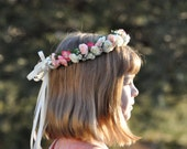 Wedding Flowers, Pink and ivory rose hair wreath halo