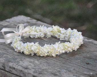 Wedding Flowers, Cream silk flower girl hydrangea halo with pale yellow and green undertones, hair wreath