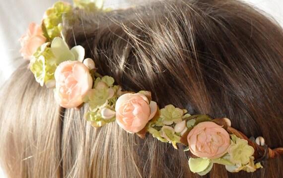 Flower Girl, First Communion, Wedding Flowers, Pink rose bud and green hydrangea communion or flower girl hair wreath.