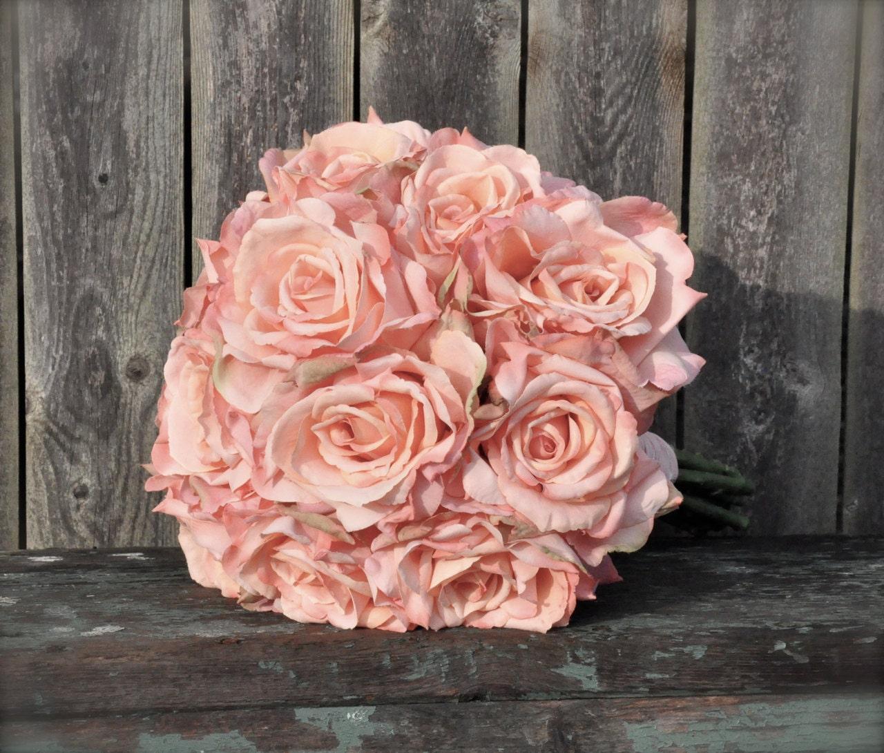 Blush Wedding Flowers: Blush Pink Rose Wedding Bouquet Made Of Silk Roses. Catherine