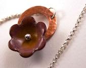 Enamel Copper Sterling Silver Necklace Purple Flower