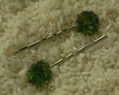 Hair Pins with Green and Amber Glass