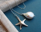 Bridesmaid gift set of THREE starfish necklaces, Pearl Lariat necklaces, Sterling silver, bridesmaid gifts for beach wedding